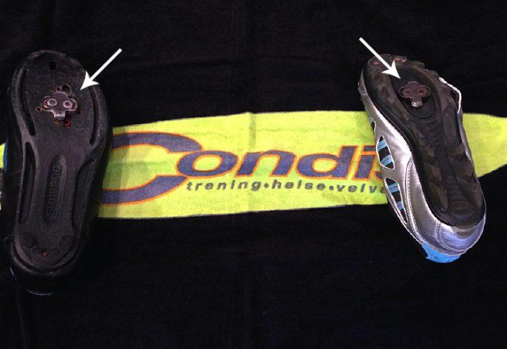Bruk sykkelsko med klips innfelt i skoen