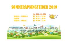 Åpningstider sommer 2019